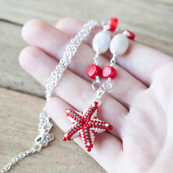 Coral Red Beaded Starfish Necklace, sterling silver chain