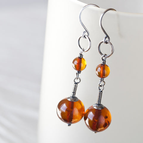 Long Natural Baltic Amber Earrings, Cognac Brown - CookOnStrike