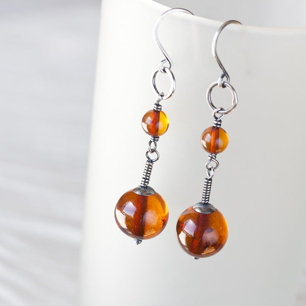 Long Natural Baltic Amber Earrings, Cognac Brown