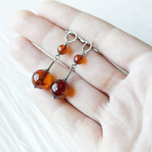 Load image into Gallery viewer, Long Natural Baltic Amber Earrings, Cognac Brown - jewelry by CookOnStrike