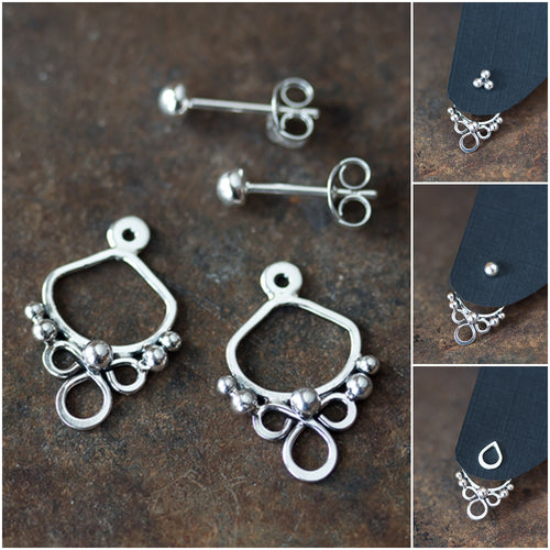Handmade silver ear jacket earrings, mix and match front and back earring - jewelry by CookOnStrike