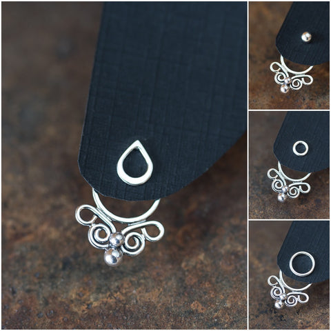 Unique handcrafted silver ear jacket earrings, stylized mini butterfly - CookOnStrike