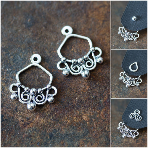 Unique Artisan Handmade Silver Ear Jacket Earrings - jewelry by CookOnStrike
