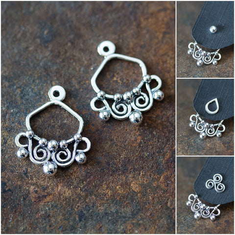 Unique Artisan Handmade Silver Ear Jacket Earrings