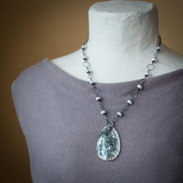 Ocean Jasper Necklace with White Freshwater Pearls, oxidized sterling silver