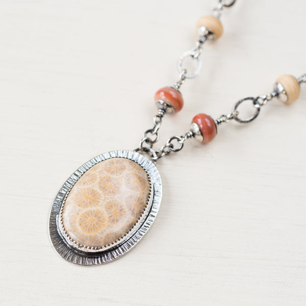 Agatized Fossil Coral Necklace, Pastel Floral Pattern Stone in Silver Bezel - CookOnStrike