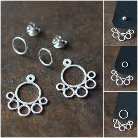 Geometric silver ear jacket earrings, minimalist solid sterling silver circles