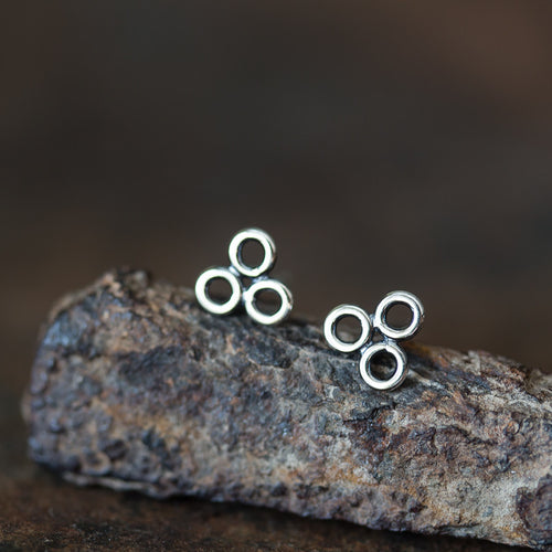 Contemporary Geometric Circle Cluster Stud Earrings, 6mm - jewelry by CookOnStrike