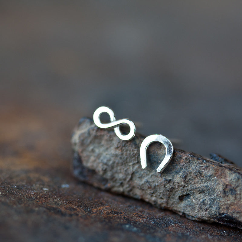Infinite Luck - Tiny horseshoe and infinity symbol, unisex good luck gift
