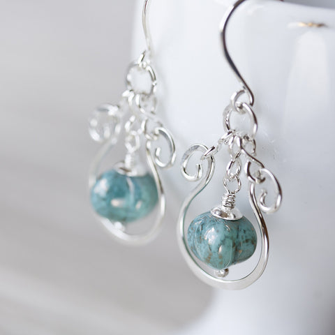 Elegant Shiny Verdigris Green Earrings, hammered silver earrings