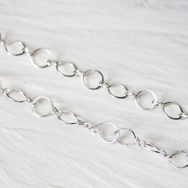 Medium Size Hammered Silver Links Chain, wire wrapped sterling silver necklace - CookOnStrike