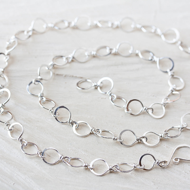 Handmade Wire Wrapped and Hammered Silver Links Chain Necklace - CookOnStrike