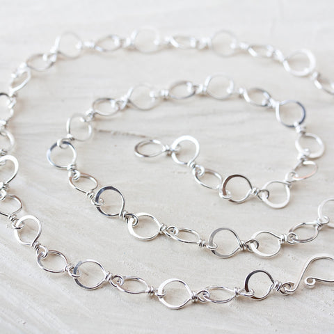 Handmade Wire Wrapped and Hammered Silver Links Chain Necklace