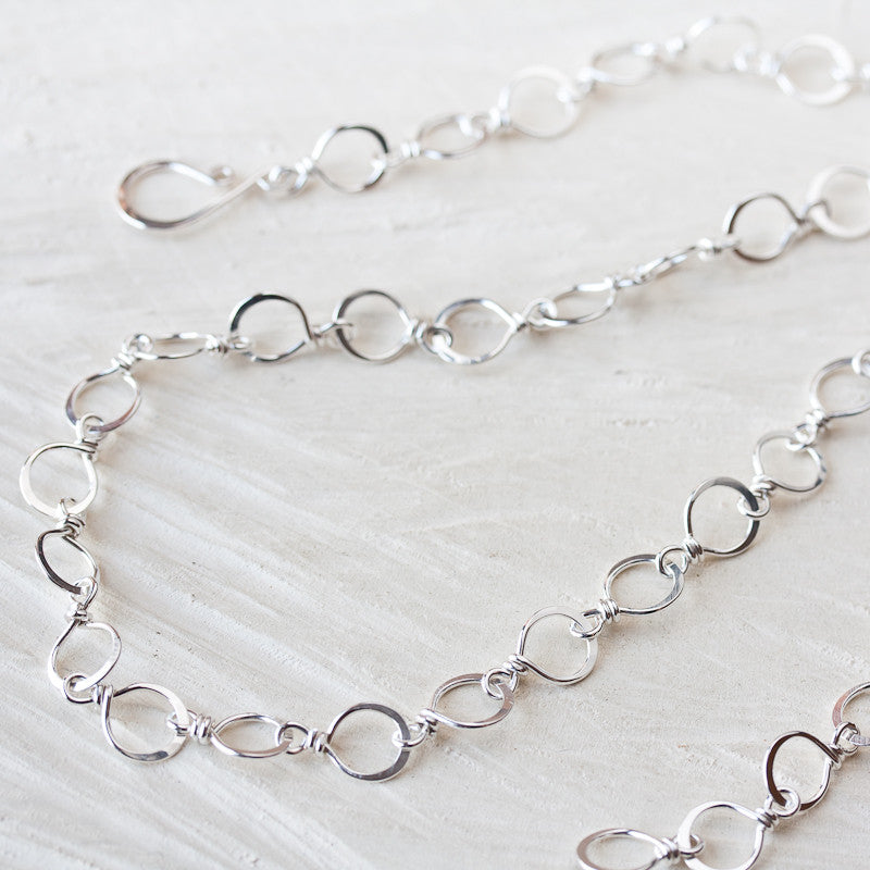 Medium Size Hammered Silver Links Chain wire wrapped sterling silver wire handcrafted sterling silver chain necklace