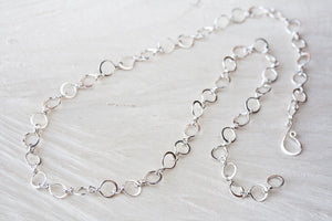 Handmade Wire Wrapped and Hammered Silver Links Chain Necklace - jewelry by CookOnStrike