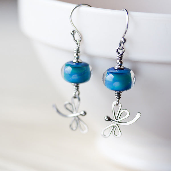 Teal blue dragonfly earrings, nature inspired jewelry, sterling silver - CookOnStrike