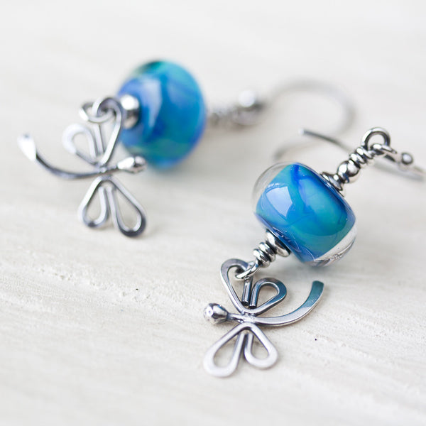 Teal blue dragonfly earrings, nature inspired jewelry, sterling silver