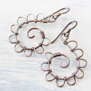 Playful Solid Copper Spiral Earrings, Hypoallergenic - jewelry by CookOnStrike