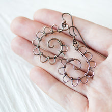 Load image into Gallery viewer, Playful Solid Copper Spiral Earrings, Hypoallergenic - CookOnStrike