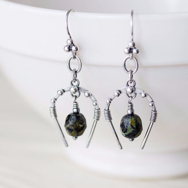 Handcrafted Horseshoe Earrings with Picasso Beads, Sterling Silver