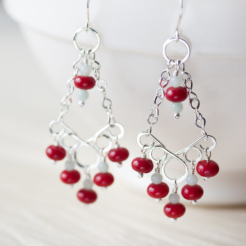 Red Coral Chandelier Earrings, Sterling Silver - CookOnStrike