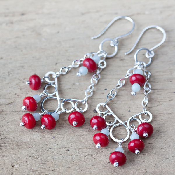 Red Coral Chandelier Earrings, Sterling Silver
