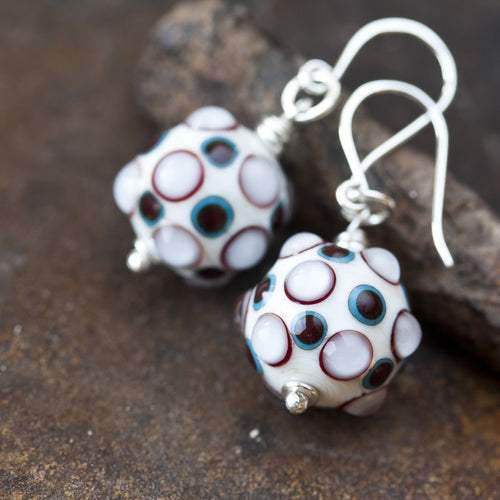 Bumpy White SRA Lampwork Earrings, sterling silver - jewelry by CookOnStrike