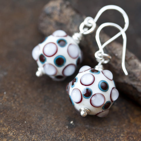 Bumpy White SRA Lampwork Earrings, sterling silver