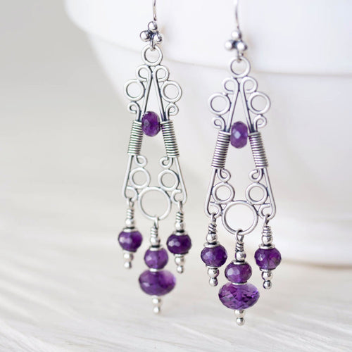 Amethyst Chandelier Earrings, Natural Faceted Stones, Sterling Silver - jewelry by CookOnStrike
