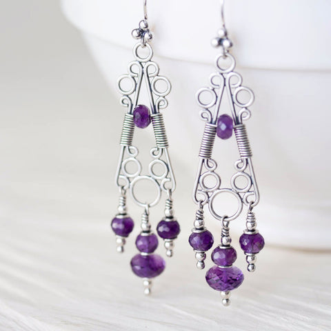 Amethyst Chandelier Earrings, Natural Faceted Stones, Sterling Silver - CookOnStrike
