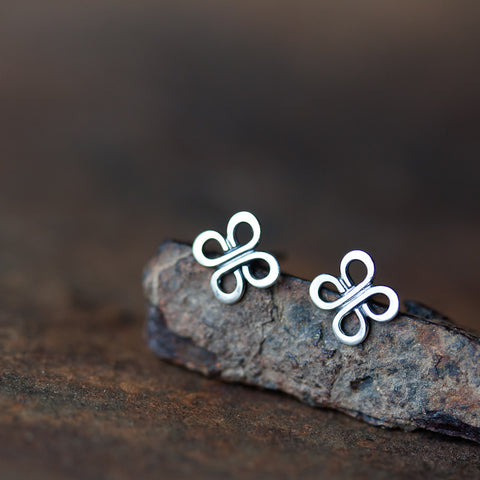 Small Celtic Knot Earrings, Tiny four leaf clover studs