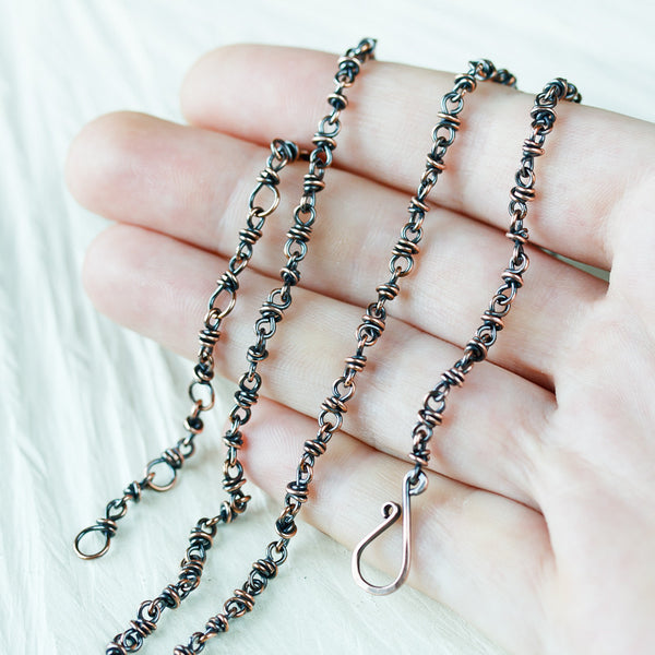Handmade adjustable copper chain for pendant, wire wrapped links - CookOnStrike