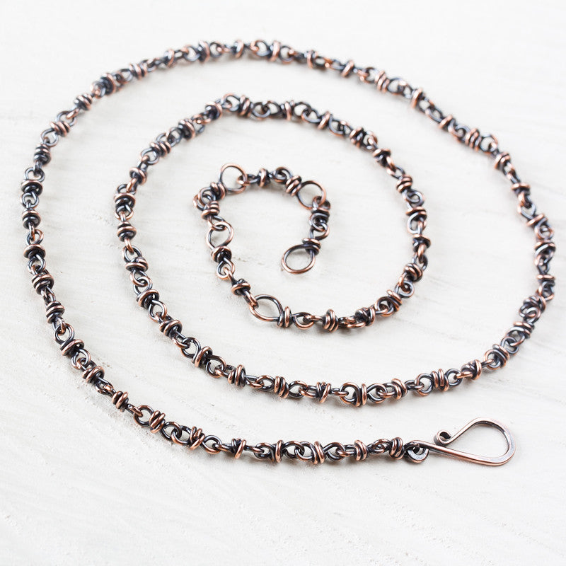 Handmade adjustable copper chain for pendant, wire wrapped links - jewelry by CookOnStrike