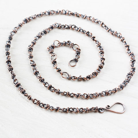Handmade adjustable copper chain for pendant, wire wrapped links