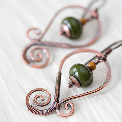 Olive Green Lampwork Earrings, Oxidized copper wirework, hypoallergenic - CookOnStrike