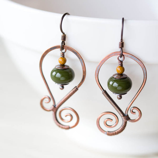 Olive Green Lampwork Earrings, Oxidized copper wirework, hypoallergenic