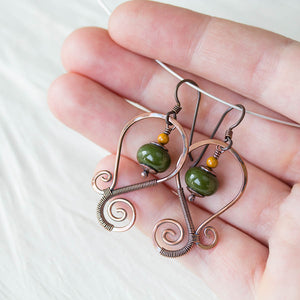 Olive Green Lampwork Earrings, Oxidized copper wirework, hypoallergenic - jewelry by CookOnStrike