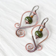 Load image into Gallery viewer, Olive Green Lampwork Earrings, Oxidized copper wirework, hypoallergenic - jewelry by CookOnStrike