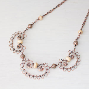 Earthy Bohemian Statement Necklace With Ivory Lampwork Beads, Copper Wire Lace - jewelry by CookOnStrike