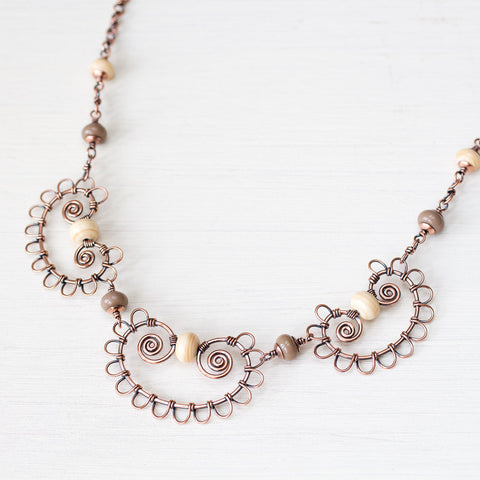 Earthy Bohemian Statement Necklace With Ivory Lampwork Beads, Copper Wire Lace