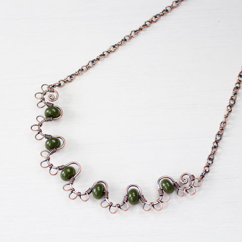 Earthy Copper Waves Necklace with Olive Green Lampwork Beads - CookOnStrike