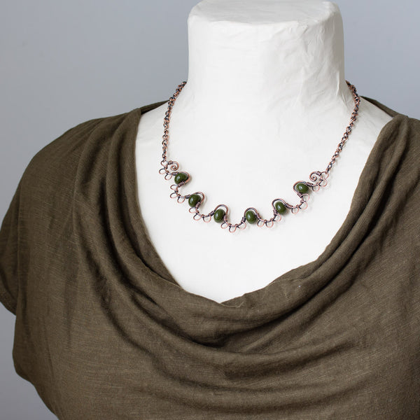 Earthy Copper Waves Necklace with Olive Green Lampwork Beads