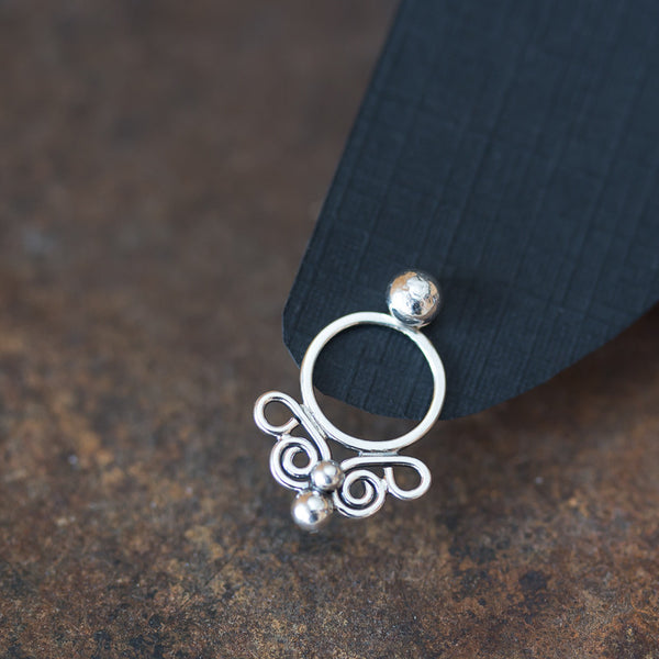 Handcrafted silver ear jacket earrings, unique front and back artisan earrings