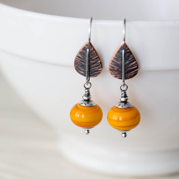 Copper Leaf Earrings with Warm Yellow Lampwork Beads, Sterling Silver - CookOnStrike