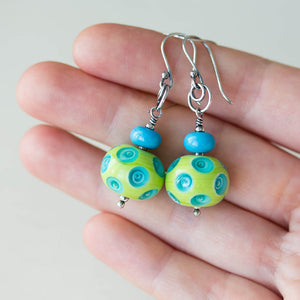 Large Green and Blue Lampwork Earrings, Sterling Silver - jewelry by CookOnStrike