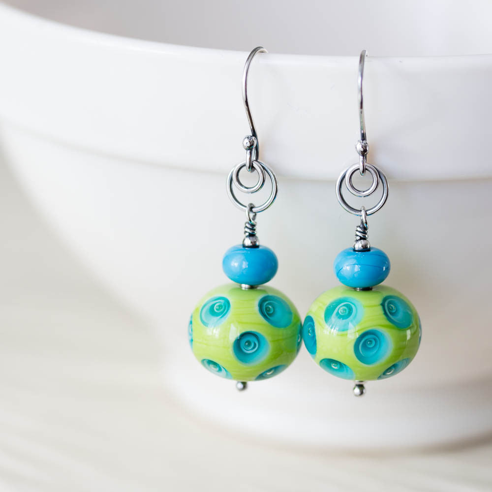 Large Green and Blue Lampwork Earrings, Sterling Silver