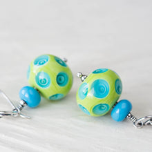 Load image into Gallery viewer, Large Green and Blue Lampwork Earrings, Sterling Silver - jewelry by CookOnStrike