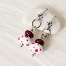 Load image into Gallery viewer, Red and White Stacked Polka Dot Lampwork Earrings, Sterling silver - jewelry by CookOnStrike