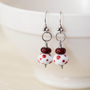 Red and White Stacked Polka Dot Lampwork Earrings, Sterling silver - jewelry by CookOnStrike