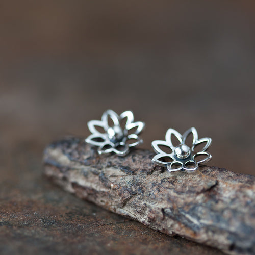 Lotus Flower Studs, 10mm - jewelry by CookOnStrike